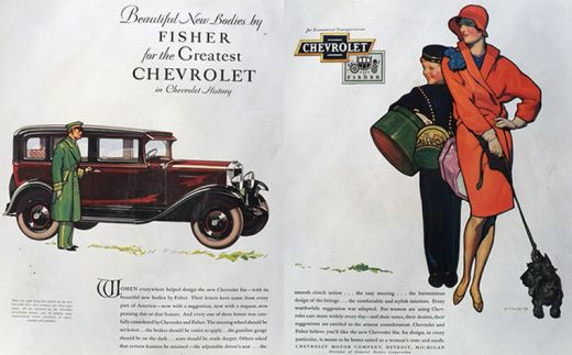 1930 Chevy Six Ad ~ McClelland Barclay ~ Woman with Scotty Dog