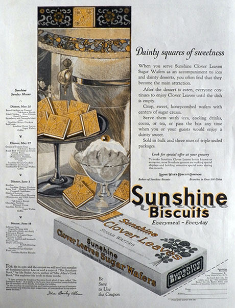 1923 Sunshine Biscuits Ad ~ Clover Leaves SUgar Wafers