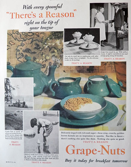 1929 Grape Nuts Cereal Ad ~ Green Vintage Dishes