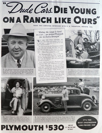 1934 Plymouth Coupe Ad ~ Rancher R.A. Thompson, Novato, CA