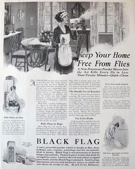 1921 black flag insect killer ad non poisonous powder vintage