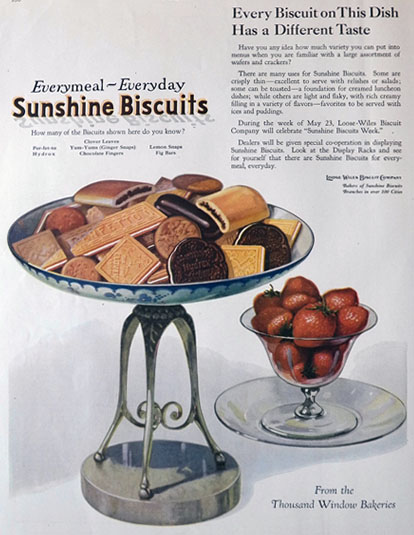 1921 Sunshine Biscuits Ad ~ Each Has a Different Taste