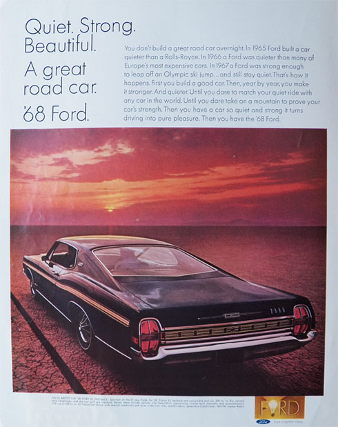 1968 Ford XL Fastback Ad ~ Quiet, Strong, Beautiful