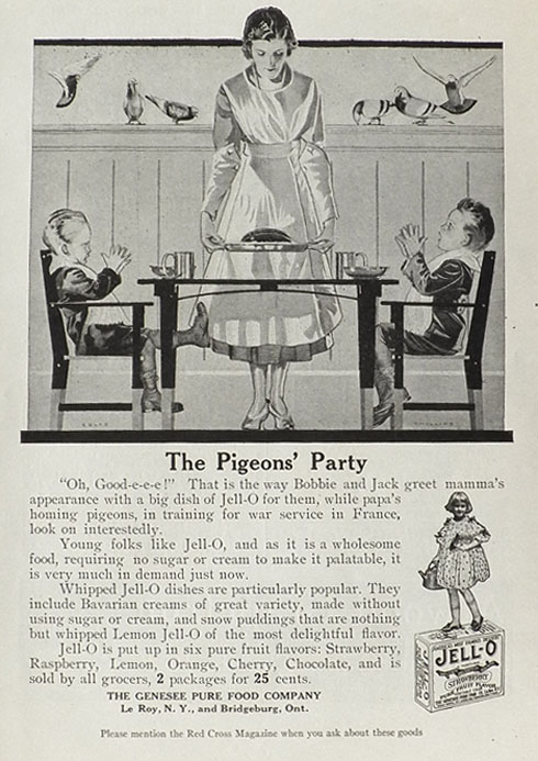 1918 Jello Ad ~ Coles Phillips ~ Homing Pigeons