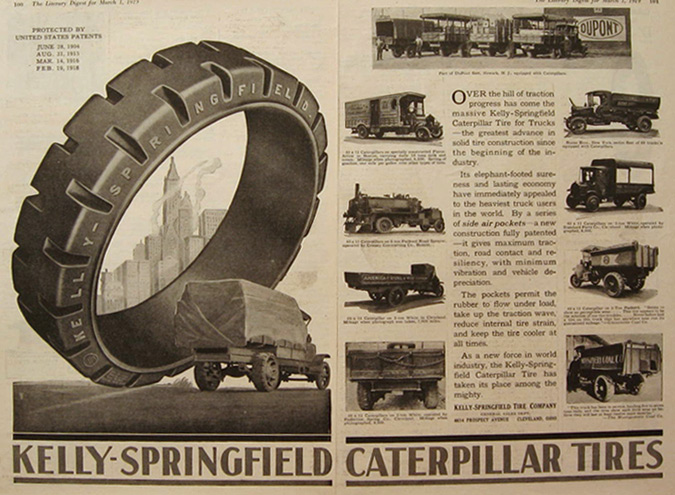 1919 Kelly Springfield Caterpillar Tires Ad ~ Truck Photos