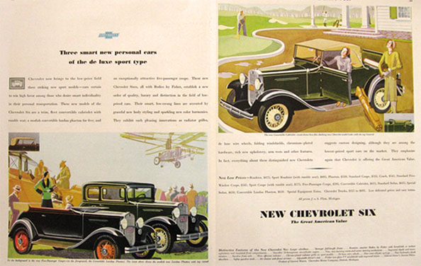 1931 Chevy Six Ad ~ Coupe, Phaeton, Cabriolet