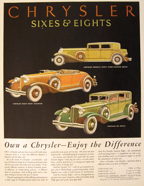 1931 Chrysler Sixes & Eights Ad ~ Enjoy the Difference
