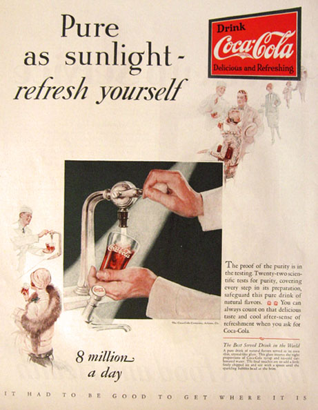 1928 Vintage Coke Coca Cola Ad ~ Pure as Sunlight