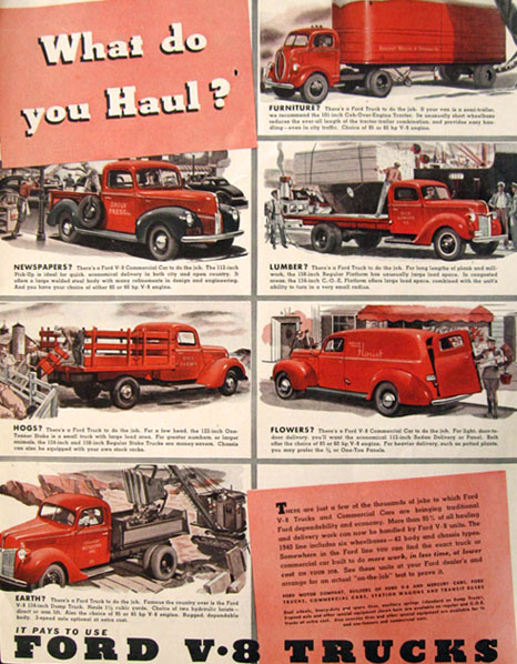 1940 Ford V-8 Trucks Ad ~ What Do You Haul?
