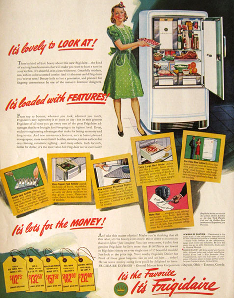1940 Vintage Frigidaire Refrigerator Ad Lovely To Look At