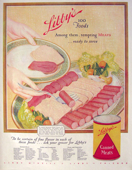 1928 Libby's Canned Meats ~ Lunch Tongue, Veal Loaf