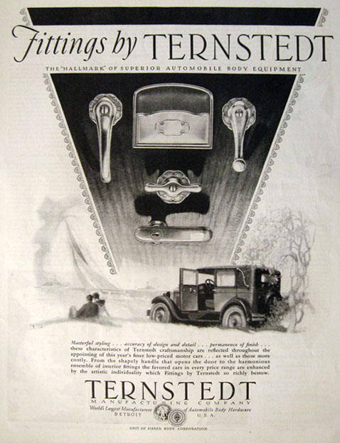 1928 Ternstedt Automobile Door Handles & Car Fittings Ad