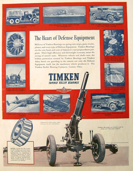 1941 Timken Bearings Ad ~ Army Defense Equipment