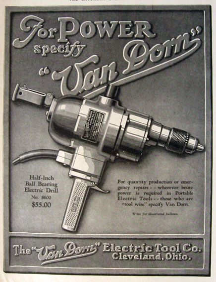1928 Vintage Power Tool Ad ~ Van Dorn Electric Drill