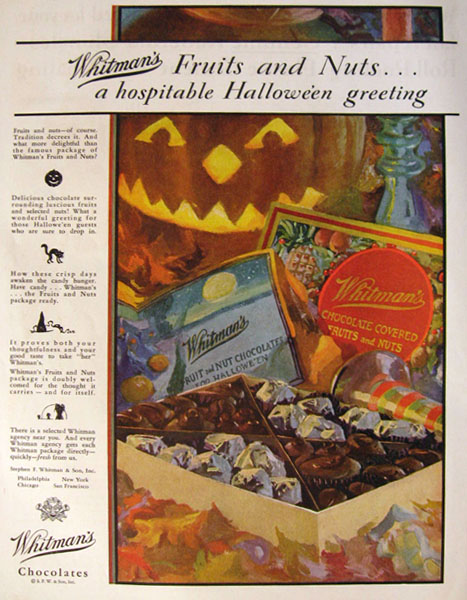 1928 Whitman's Fruit & Nuts Halloween Candy Ad