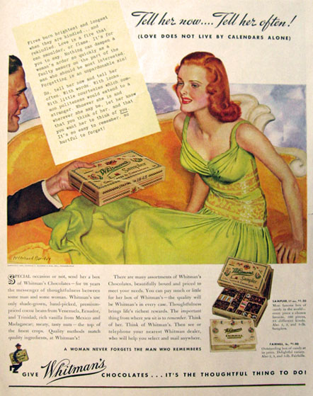 1940 Whitman's Candy Ad ~ McClelland Barclay