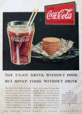 1932 Coca Cola Coke Ad ~ Never Food WIthout Drink