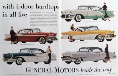 1956 General Motors Ad ~ Belair, Star Chief, Olds 98, Roadmaster, de Ville