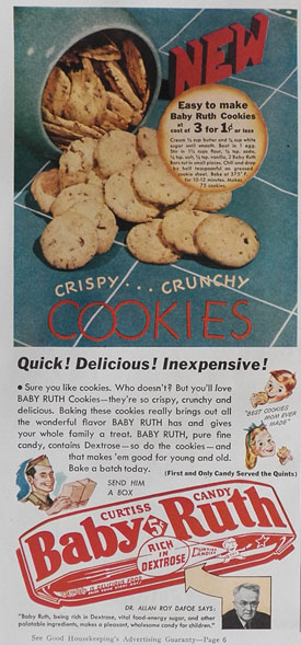 1942 Baby Ruth Candy Bar Ad ~ Cookie Recipe, Vintage Candy ...