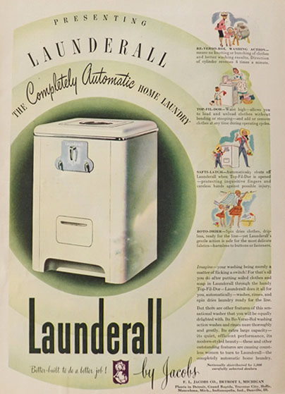 1946 Vintage Launderall Washing Machine Ad