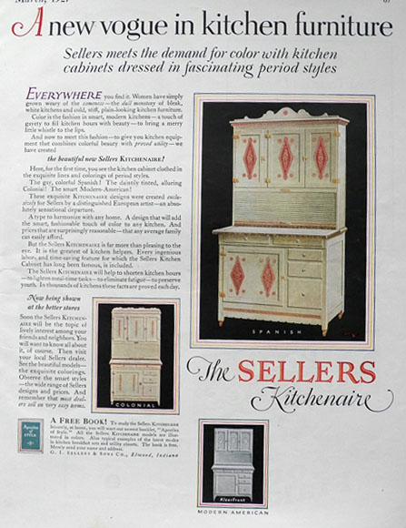 1927 Sellers Kitchenaire Hoosier Cabinet Ad ~ Period Styles