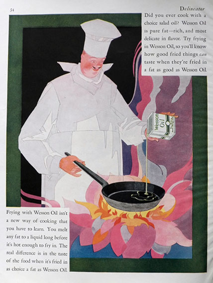 1927 Wesson Oil Ad ~ Great Chef Art