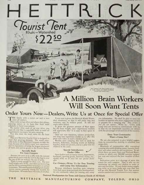 1923 Hettrick Tourist Tent Ad ~ For Auto Campers