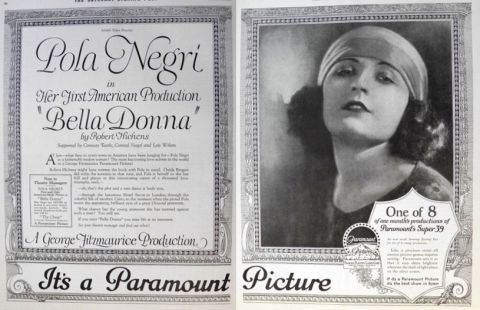 1923 Movie Ad ~ Bella Donna ~ Pola Negri