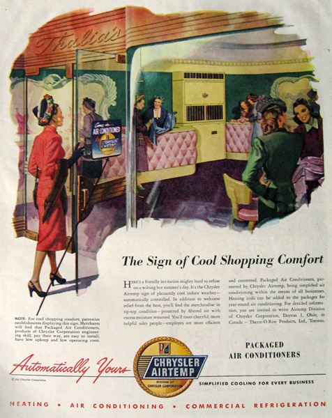 1947 Chrysler Airtemp Packaged Air Conditioner Ad ~ Shopping Comfort