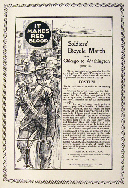 1897 Postum Beverage Ad ~ Soldier's Bicycle March