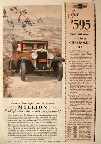 1929 Chevy Six Ad ~ Buy One for $595