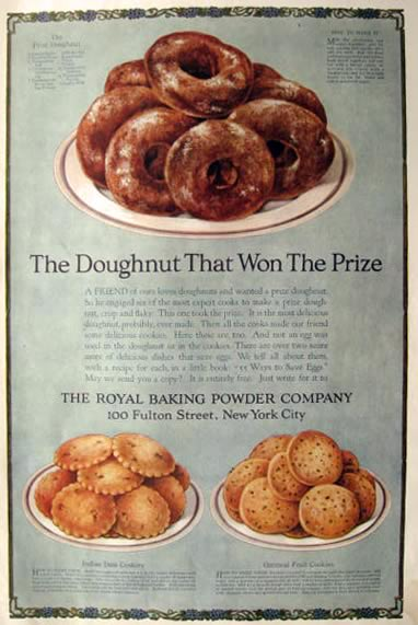 1918 Royal Baking Powder Ad ~ Prize Donut Recipe