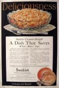 1918 Sunkist Oranges Ad ~ Coconut Delight Recipe
