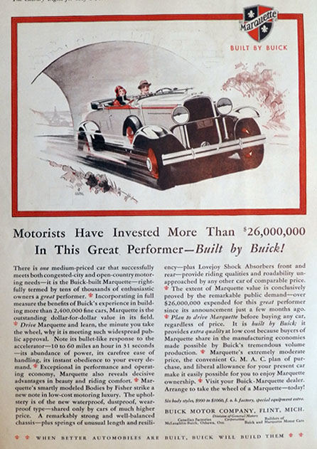 1930 Buick Marquette Ad ~ Great Performer