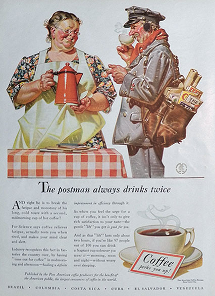 1941 Coffee Ad ~ Mailman ~ JC Leyendecker