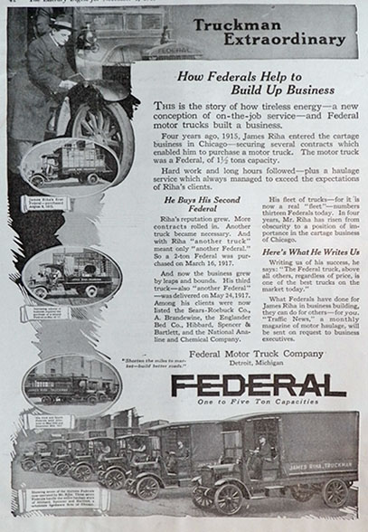 1919 Federal Trucks Ad ~ James Riha, Chicago