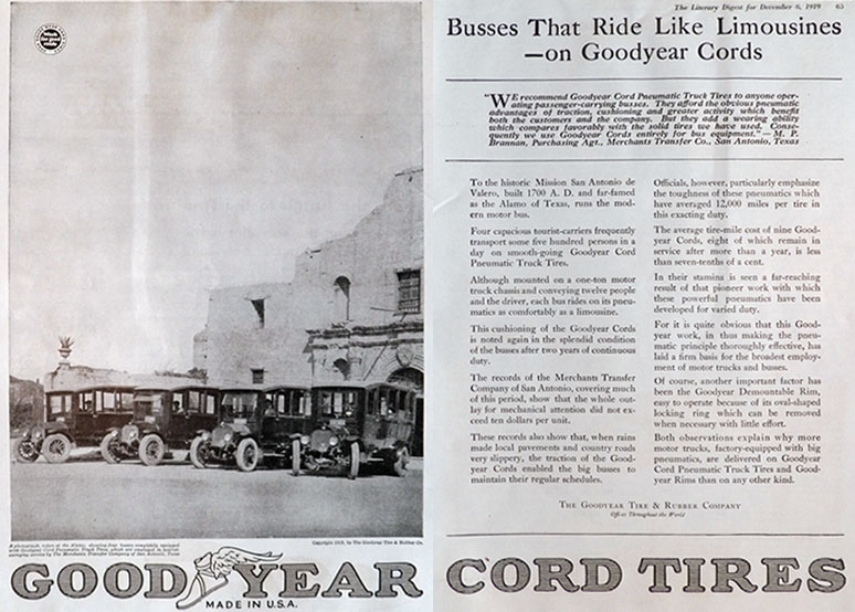 1919 Goodyear Cord Tires Ad ~ Tourist Bus at the Alamo Photo