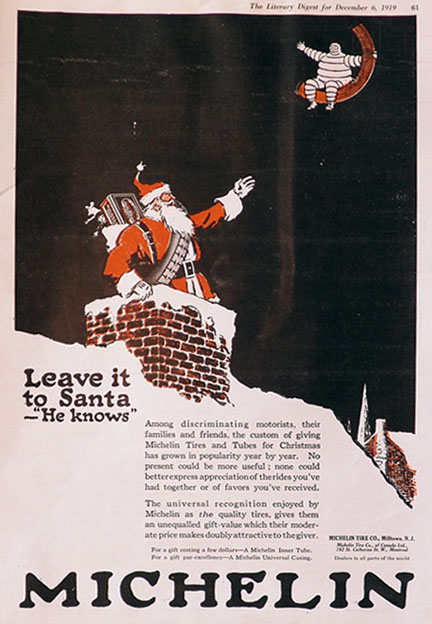 1919 Michelin Tires Ad ~ Leave It To Santa