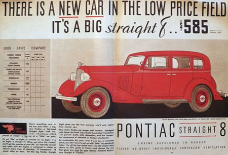 1933 Pontiac Straight 8 Ad ~ Low Price
