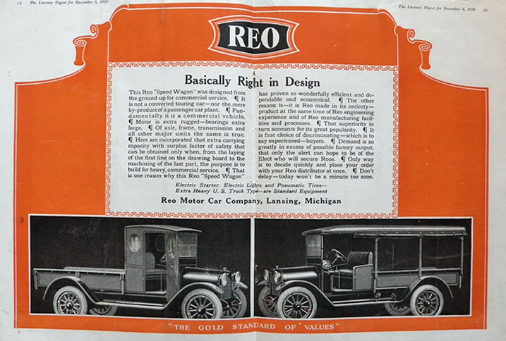 1919 Reo Speed Wagon Car Ad ~ Gold Standard