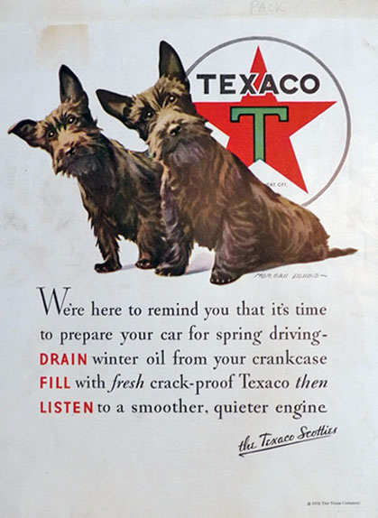 1932 Texaco Oil Ad ~ Morgan Dennis Scotties