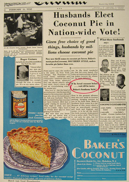 1930 Baker's Coconut Ad ~ Coconut Custard Pie Recipe