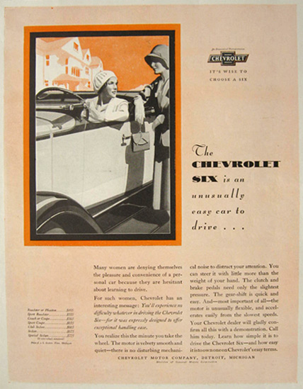 1930 Chevy Six Ad ~ Unusually Easy to Drive
