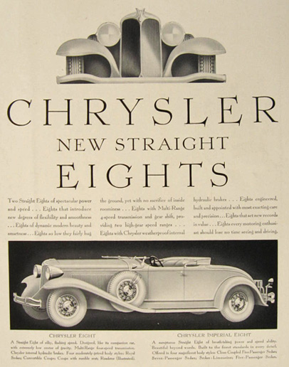 1930 Chrysler Eight Roadster Ad