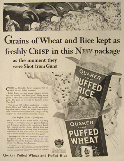 1930 Quaker Puffed Rice & Wheat Ad ~ New Package