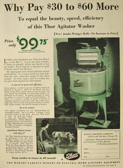 1930 Thor Agitator Washer Washing Machine Ad