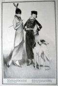 1918 Hickson Fashion Print ~ Women with Borzoi Hound