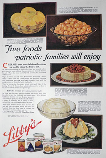 1918 Libby's Canned Food Ad ~ Recipes for Patriotic Families