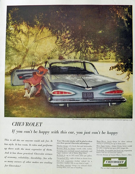 1959 Chevy Impala Sport Coupe Ad ~ Can't Be Happy