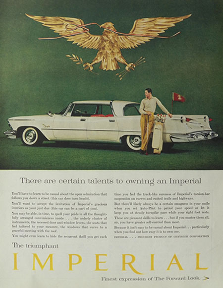 1958 Chrysler Imperial Ad ~ Certain Talents